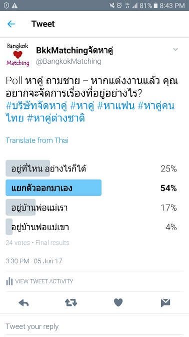 963  Poll บริษัทจัดหาคู่ bangkokmatching.com บริษัทหาคู่ บริการหาคู่ หาคู่ หาแฟนจริงจัง